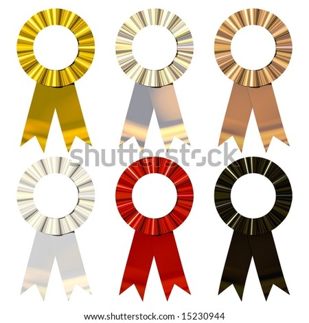 Beautiful award ribbons isolated on white