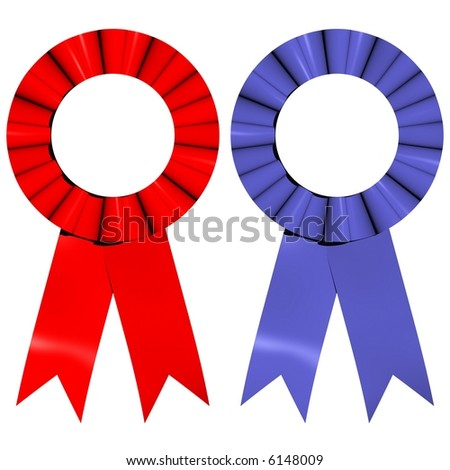 Beautiful award ribbons isolated on white - stock photo