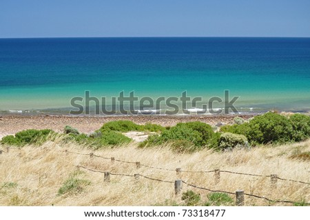 Beautiful azure, blue water beach. Hallett Cove Conservation Park, South Australia. - stock photo