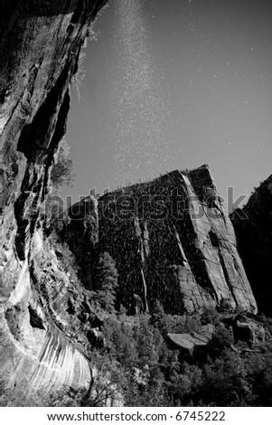 beautiful B&W shot of a waterfall at Zion National Park - stock photo