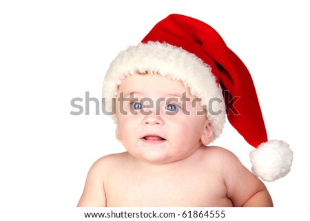 Beautiful babe with blue eyes and Christmas hat isolated on white background