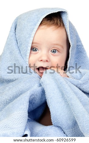 Beautiful babe with blue eyes covered by a towel isolated on white background - stock photo