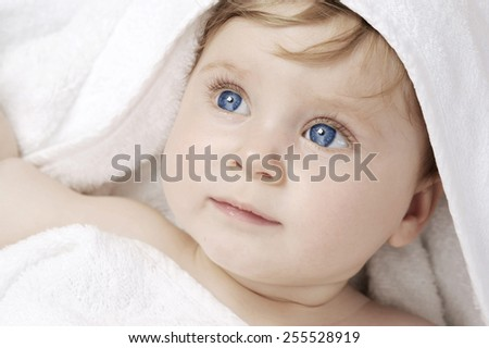 beautiful baby after bathing - stock photo