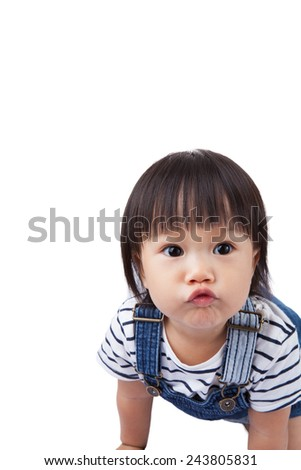 Beautiful baby, black hairs, isolated on white,