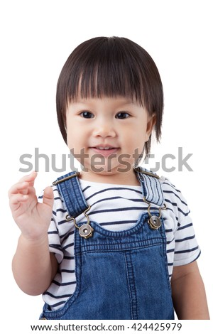 Beautiful baby, black hairs, isolated on white, / have clipping paths. - stock photo