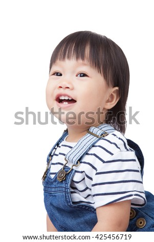 Beautiful baby, black hairs, isolated on white, have clipping paths. - stock photo