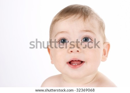 Beautiful baby boy face on white background