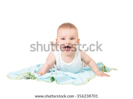Beautiful baby boy laughing, smiling with open mouth, full of joy, happiness and energy - stock photo