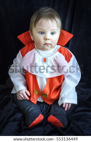beautiful baby boy 7 months in Dracula costume
