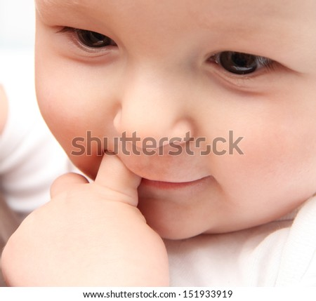 beautiful baby close up - stock photo