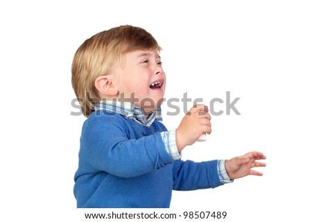Beautiful baby crying isolated on white background - stock photo