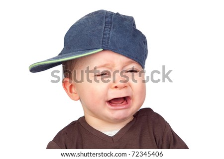 Beautiful baby crying with a cap isolated on white background - stock photo