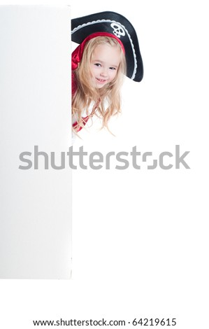 Beautiful baby girl dressed up for Christmas isolated in white - stock photo
