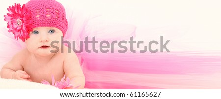 Beautiful baby girl in ADD TEXT background wearing pink flower hat and pink tutu over white. - stock photo