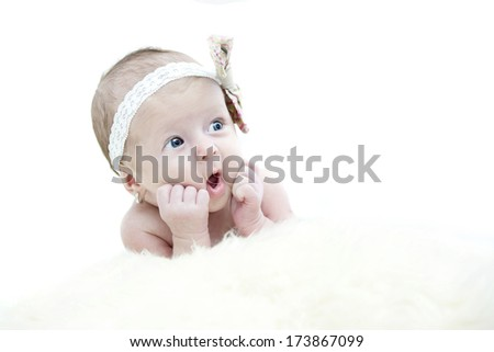 beautiful baby girl portrait isolated on white background