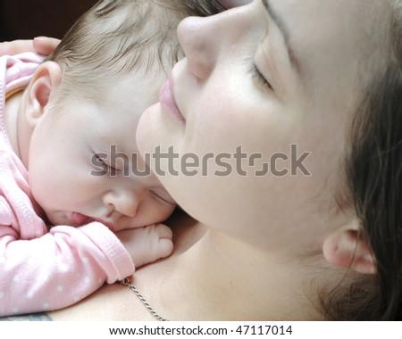 Beautiful baby girl sleeping - stock photo