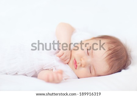 beautiful baby girl sleeping, two months old - stock photo