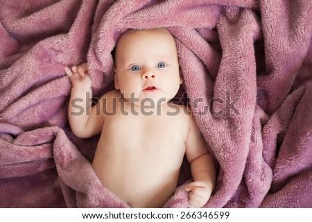 beautiful baby girl, three months - stock photo
