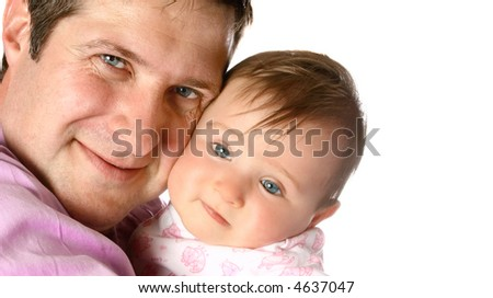 Beautiful baby girl tired with loving father, over white background. - stock photo