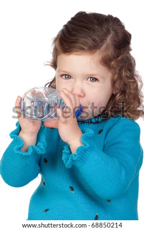 Beautiful baby girl with drinking with a water bottle isolated over white background - stock photo