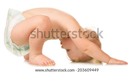 Beautiful baby in yoga pose isolated on white