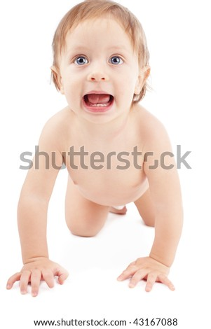 Beautiful baby isolated on white background