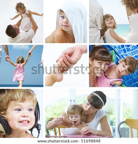 beautiful baby  lifestyle theme collage made from few photographs - stock photo