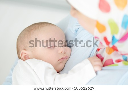Beautiful baby of two months old in his muslim mothers arms - stock photo