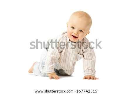 Beautiful baby on white background. Cute child. Little kid
