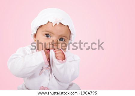beautiful baby over pink background - stock photo