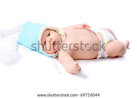 Beautiful baby. Shot in a studio. Isolated on white.