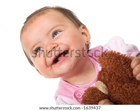 beautiful baby smiling over white