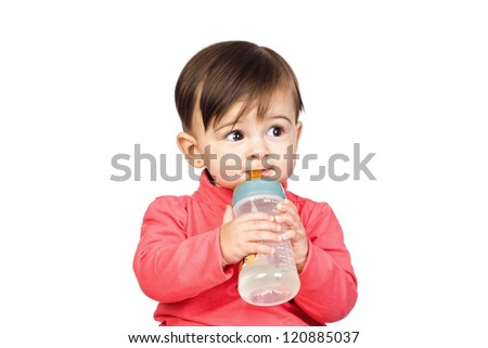 Beautiful baby with a Feeding bottle isolated on white background