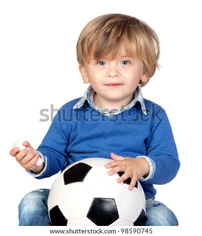 Beautiful baby with a soccer ball isolated on white background - stock photo