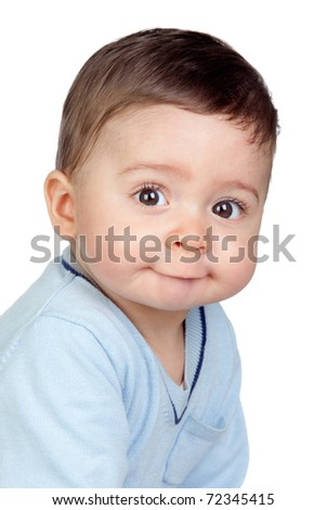 Beautiful baby with nice eyes isolated on white background - stock photo
