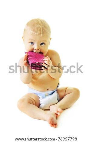 beautiful baby with pink wallet  isolated on white background