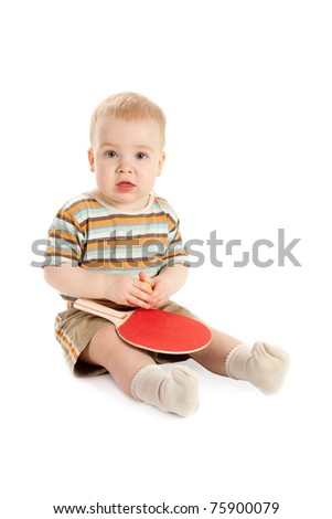 beautiful baby with table tennis racket - stock photo