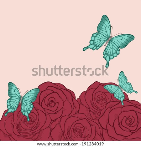 beautiful background for greeting cards and text with butterflies and roses  in a hand-drawn graphic style in vintage colors - stock photo