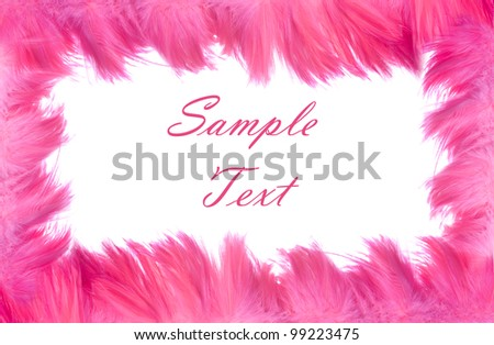 Beautiful background frame consisting of bright pink feathers isolated on white with room for your text or picture
