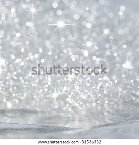 Beautiful background in silver with stars - stock photo