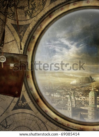 beautiful background in steam-punk look - stock photo