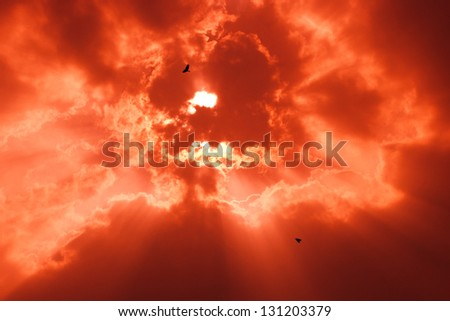 Beautiful background - red sunset sky, bright sun shines through clouds - stock photo