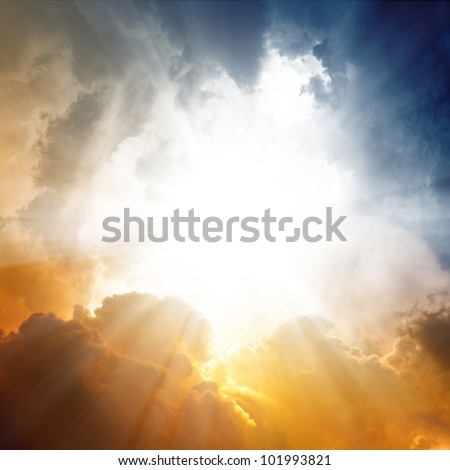 Beautiful background - sunset sky, bright sun shines through clouds - stock photo
