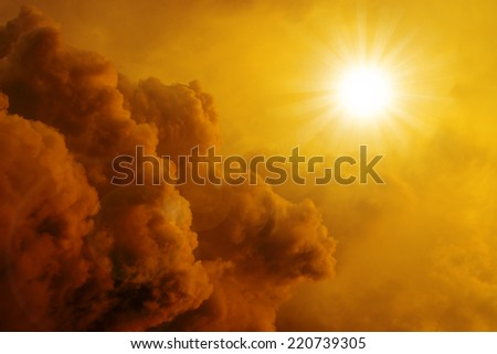 Beautiful background , sunset sky, bright sun shines through clouds - stock photo
