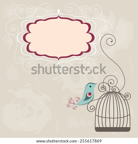 Beautiful background with frame and birdcage illustration