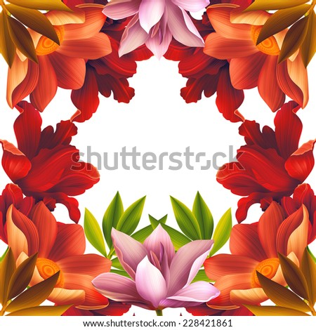 Beautiful background with tropical flowers, plant and leaf. Free space for your text. - stock photo