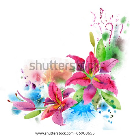 Beautiful background with watercolor flowers lily - stock photo