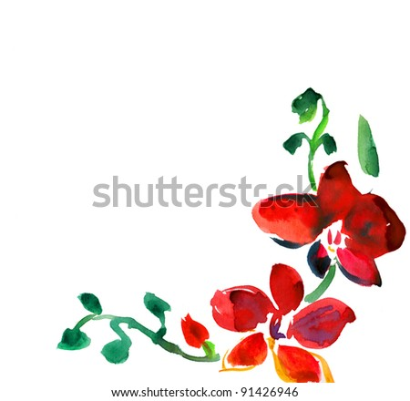 Beautiful background with watercolor flowers orchids. - stock photo