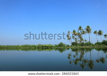 Beautiful backwater destinations of Kerala, India. - stock photo