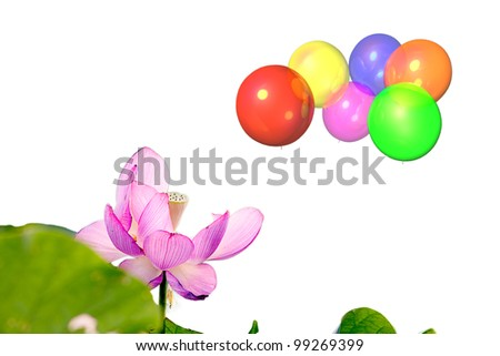 Beautiful balloon with blue sky and flower - stock photo